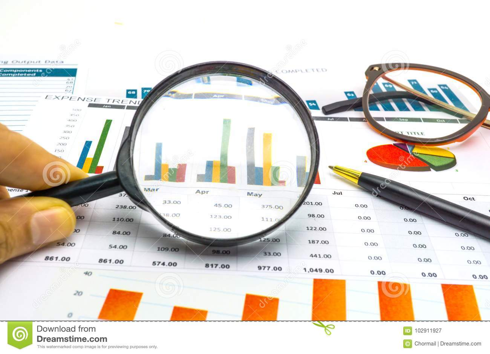 Έγγραφο διαγραμμάτων και γραφικών παραστάσεων Οικονομικός, λογαριασμός, στατιστικές, αναλυτικές ερευνητικά στοιχεία και έννοια συ