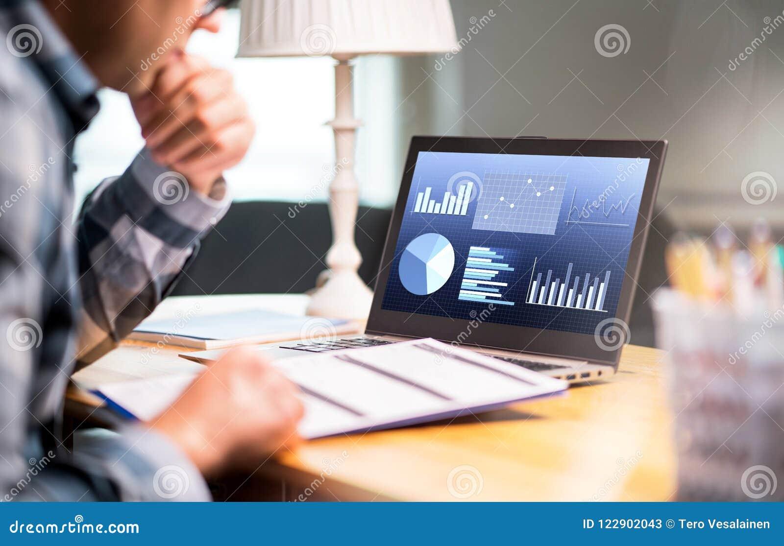 Έγγραφο επιχειρησιακών εκθέσεων ανάγνωσης ατόμων Lap-top με τις οικονομικές γραφικές παραστάσεις