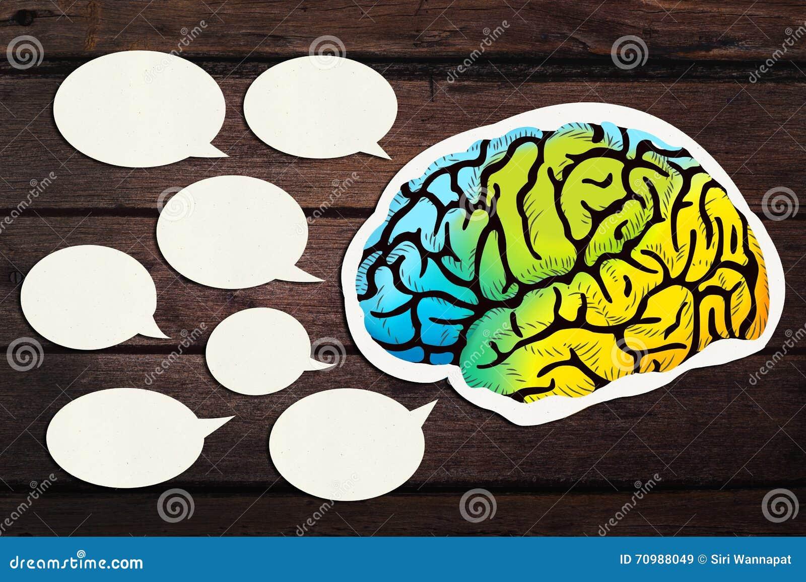 Έγγραφο που κόβεται κενό με την ομιλία εγκεφάλου