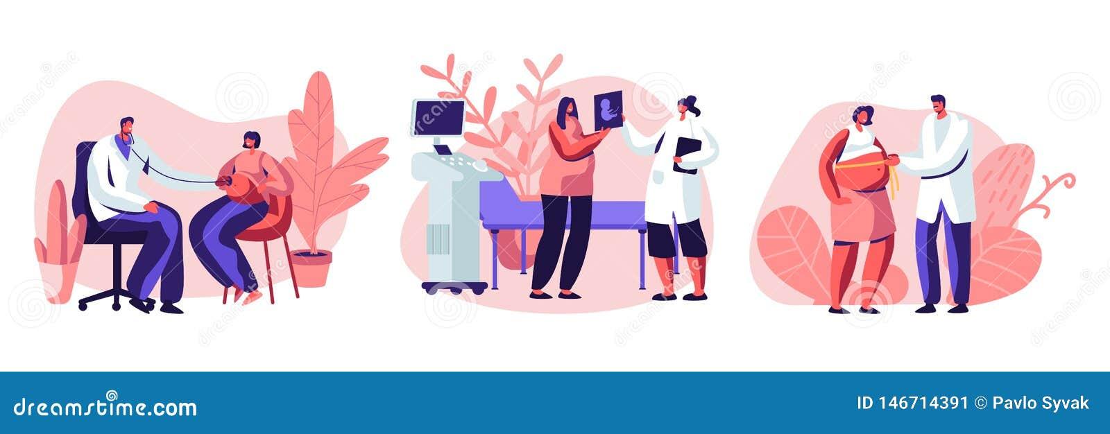 Έγκυοι θηλυκοί χαρακτήρες στο διορισμό γιατρών Ιατρικός έλεγχος επάνω, υπέρηχος, μετρώντας την κοιλιά, καρδιά μωρών ακούσματος Εγ