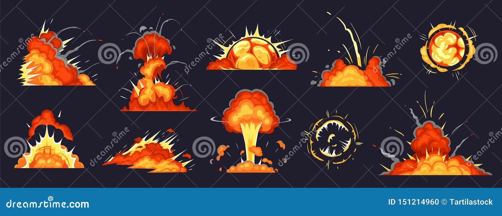 Έκρηξη βομβών κινούμενων σχεδίων Οι εκρήξεις δυναμίτη, η εκρηκτική εκπυρσοκρότηση βομβών κινδύνου και οι ατομικές βόμβες καλύπτου