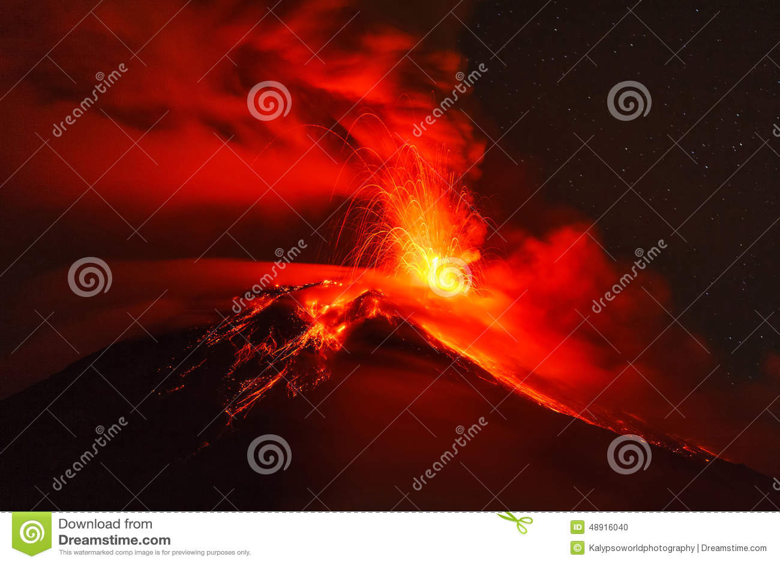 Έκρηξη νύχτας ηφαιστείων Tungurahua