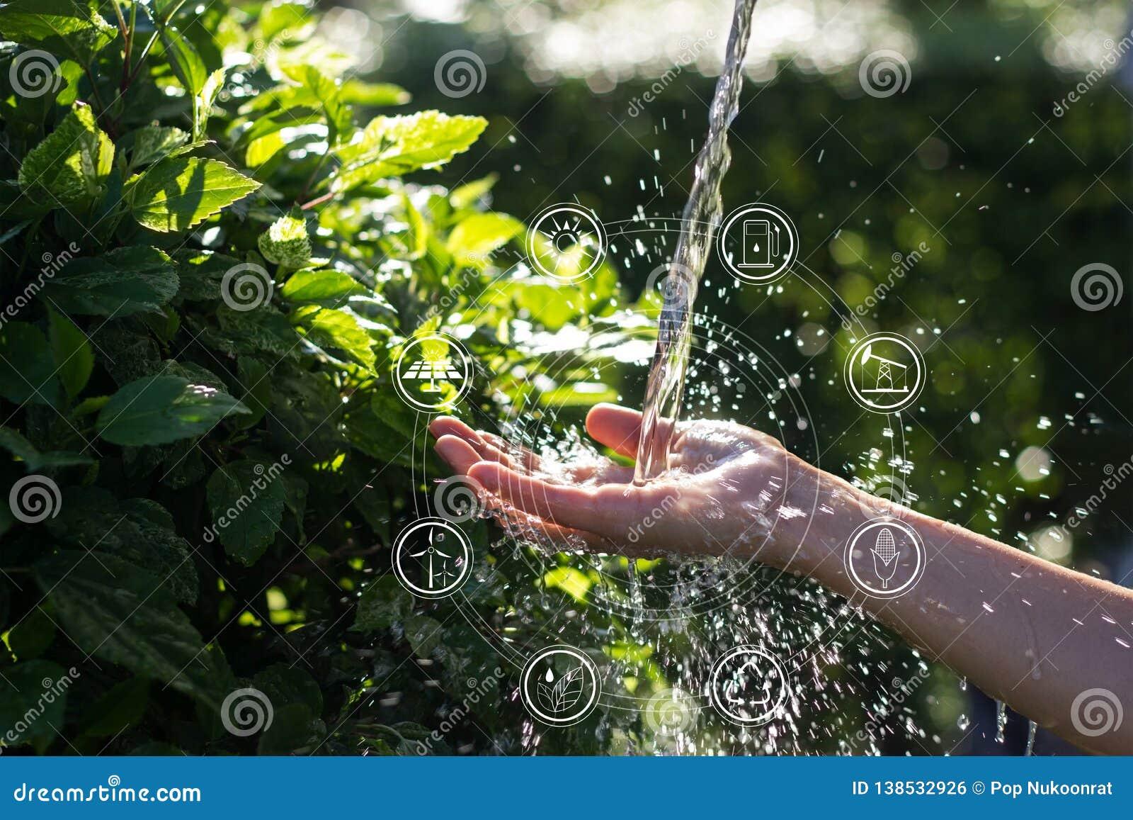 Έκχυση νερού στο χέρι γυναικών με τις πηγές ενέργειας εικονιδίων για ανανεώσιμο, βιώσιμη ανάπτυξη Οικολογία