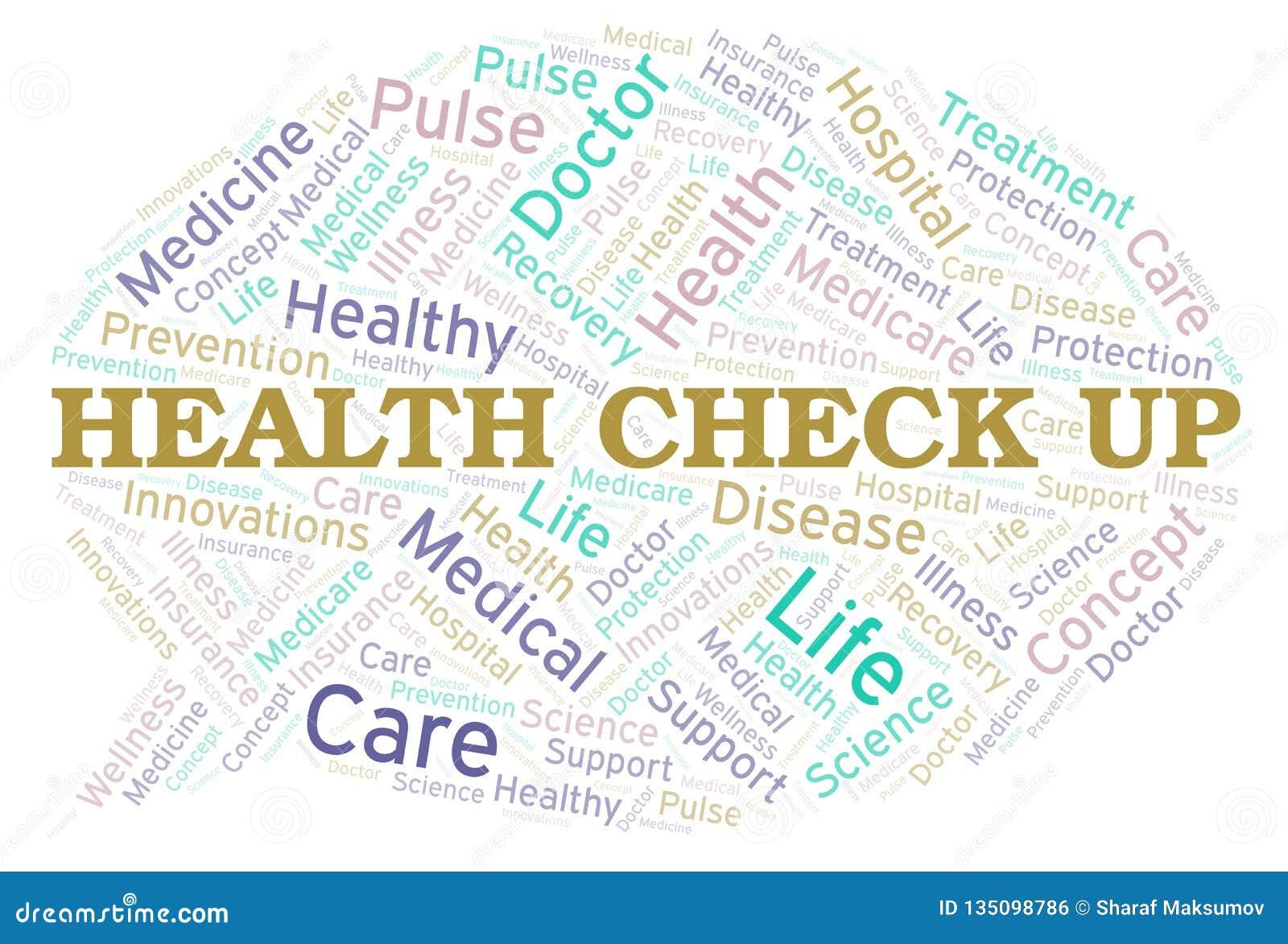 Έλεγχος υγείας επάνω στο σύννεφο λέξης