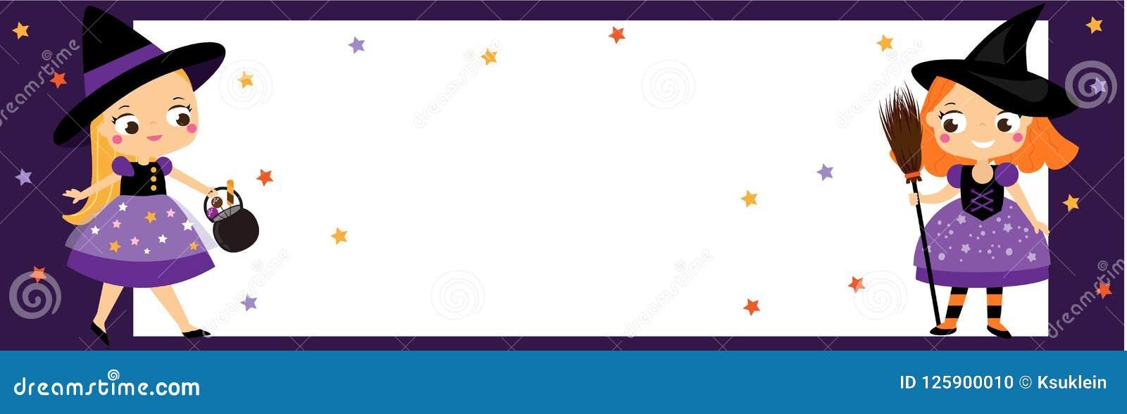 Έμβλημα κομμάτων αποκριών με τις χαριτωμένες μικρές μάγισσες Προσκλήσεις, διαφημίσεις με τα κορίτσια παιδιών