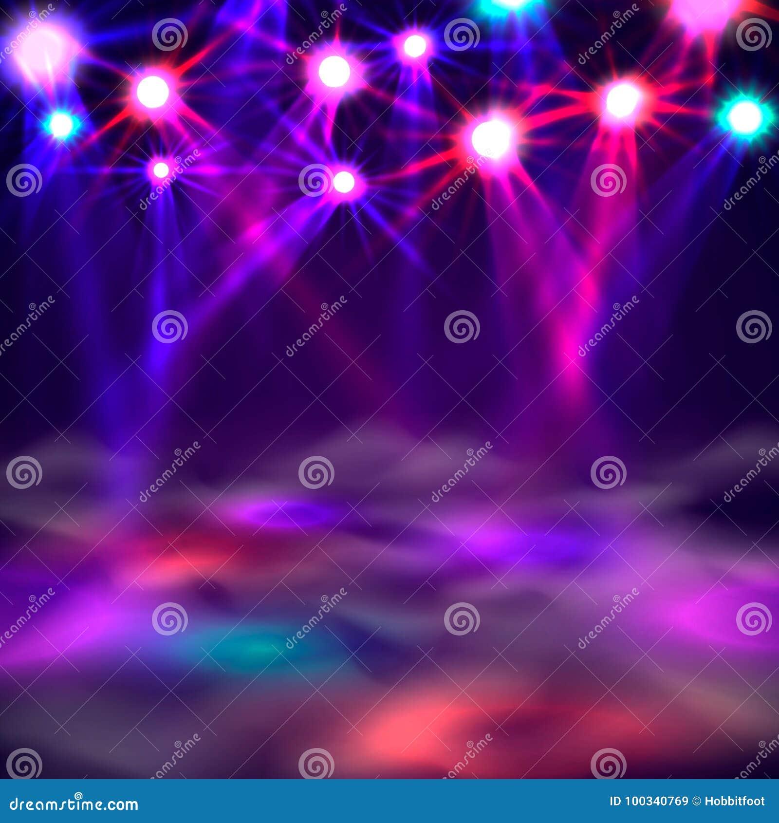 Έμβλημα, φως και καπνός πιστών χορού στη σκηνή