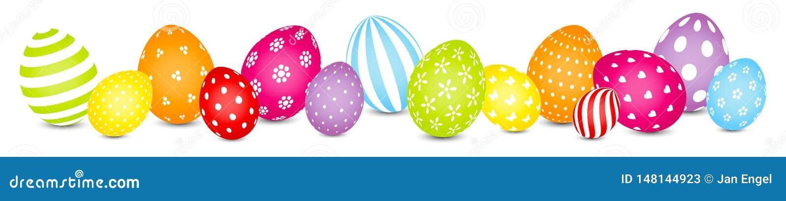 Έμβλημα χρώματος ουράνιων τόξων σχεδίων μιγμάτων αυγών Πάσχας