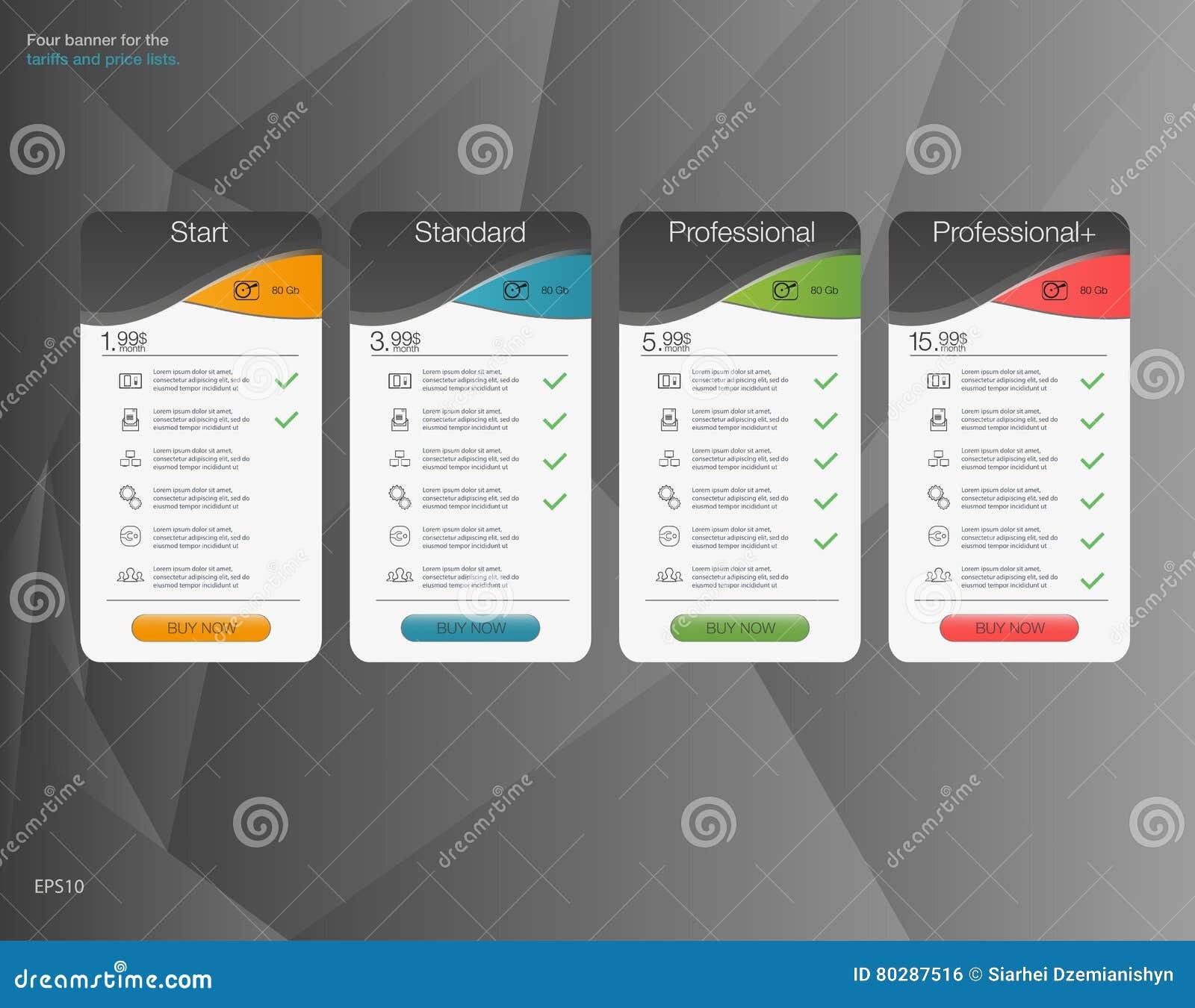 Έμβλημα τέσσερα τα δασμολόγια και οι τιμοκατάλογοι abstrat Ιστός απεικόνισης στοιχείων Φιλοξενία σχεδίων Διανυσματικό σχέδιο για