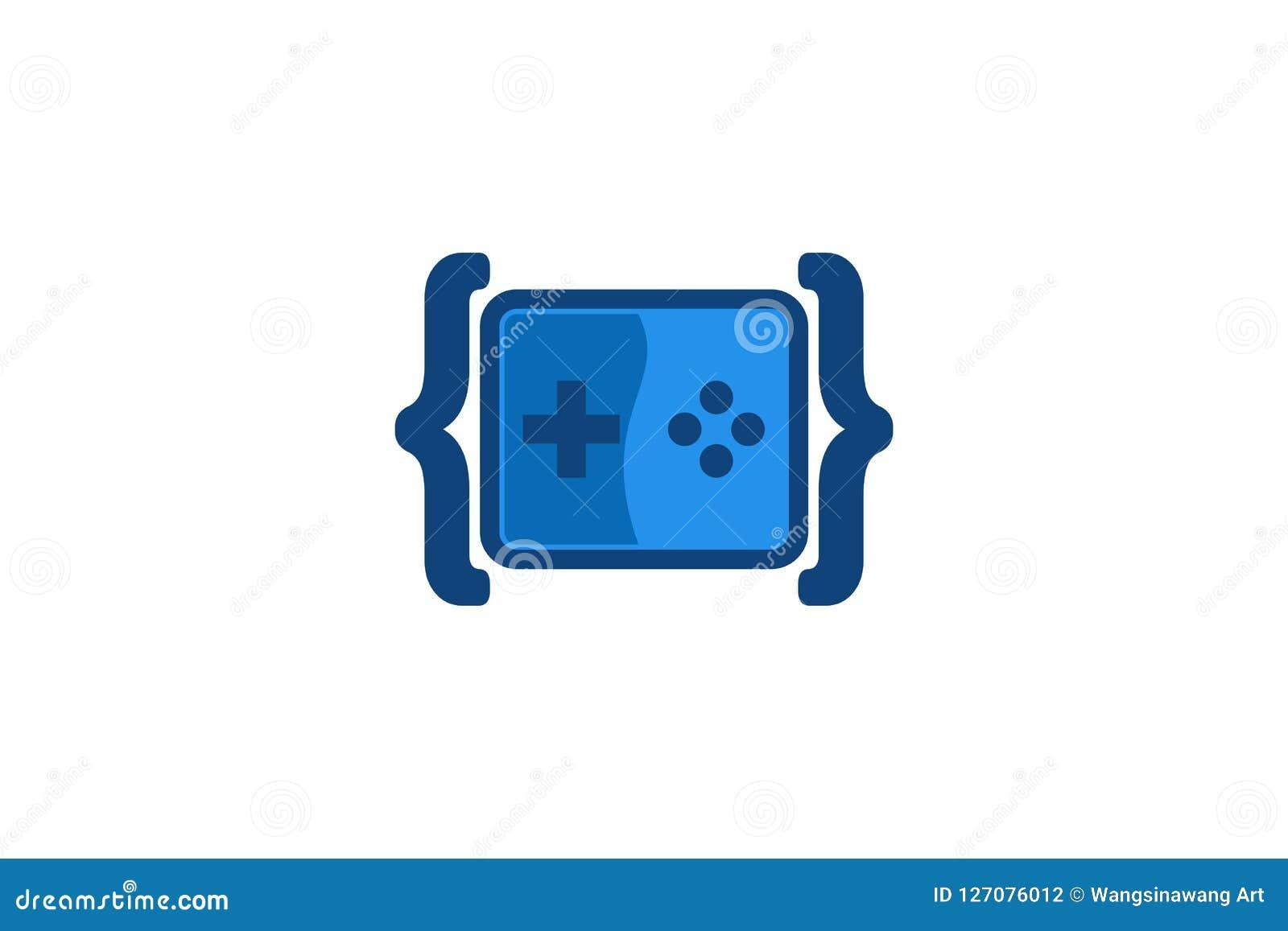 Έμπνευση σχεδίων λογότυπων παιχνιδιών κώδικα, διανυσματική απεικόνιση
