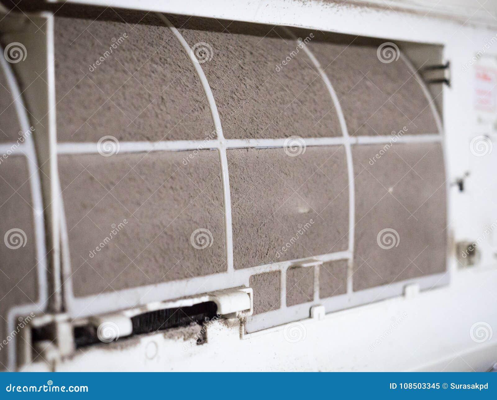 Έμφραξη φίλτρων εγχώριων κλιματιστικών μηχανημάτων ` s με πλήρως της σκόνης, βρώμικο FI