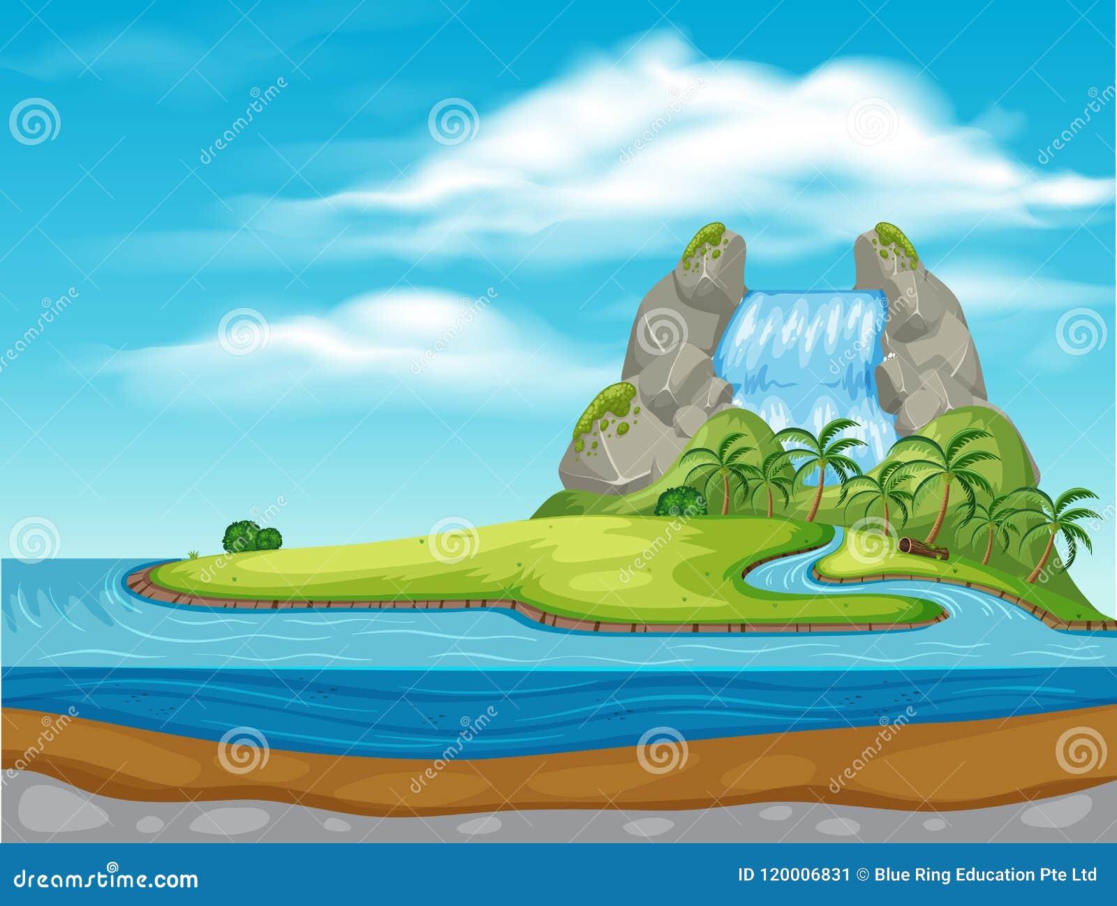 Ένας καταρράκτης στο όμορφο νησί