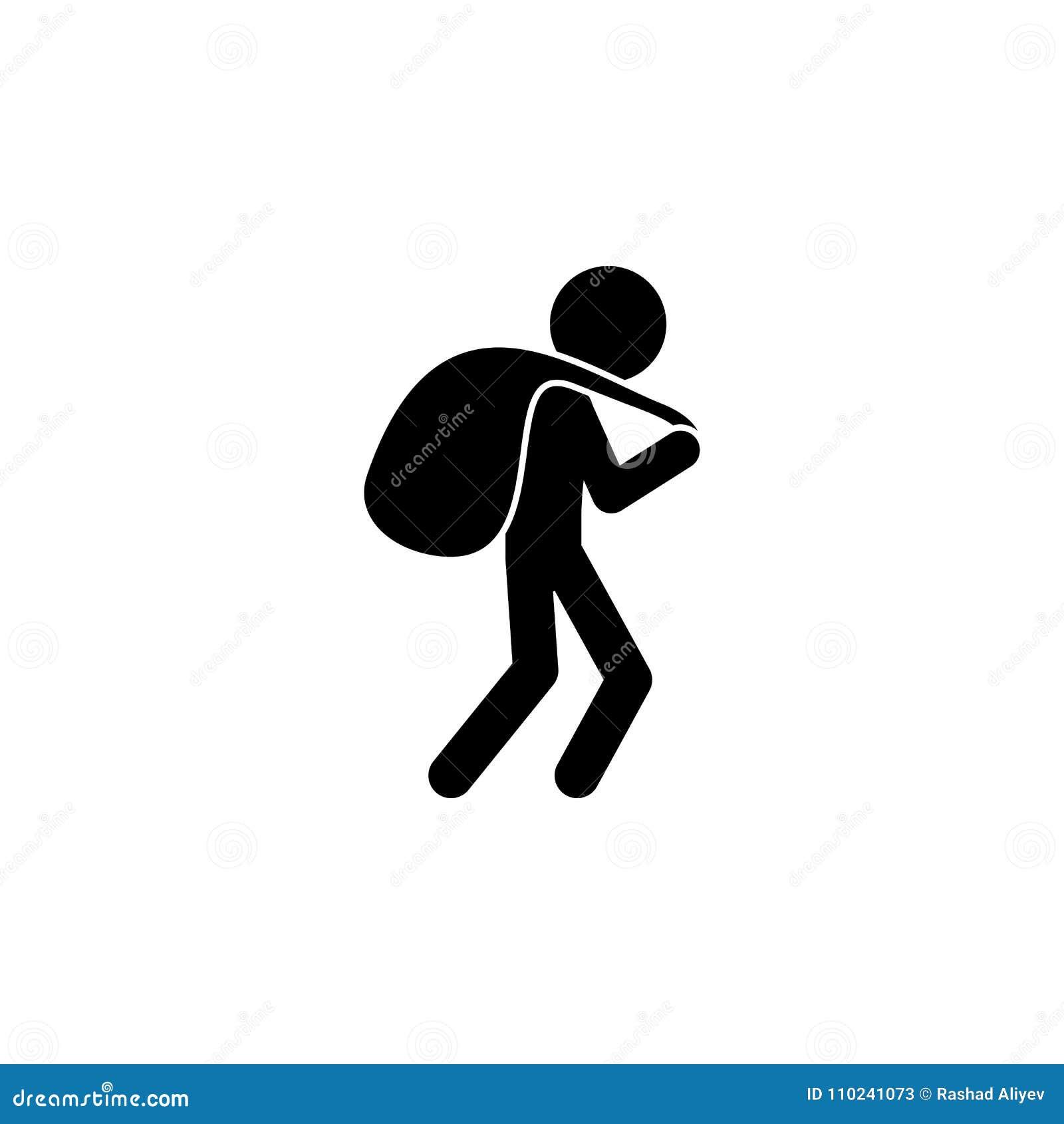 ένας κλέφτης με μια τσάντα του εικονιδίου λαφύρων Απεικόνιση ενός εγκληματικού εικονιδίου σκηνών Γραφικό εικονίδιο σχεδίου εξαιρε