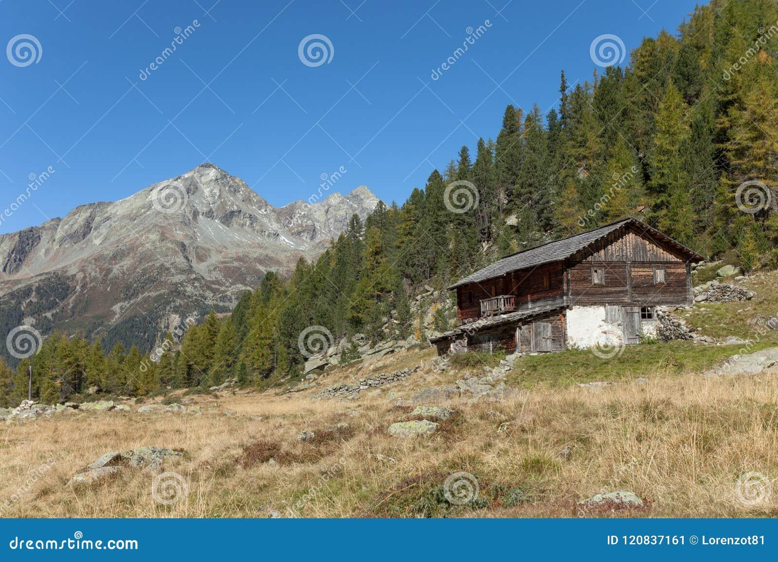 Ένας κλειστός σταύλος στην πτώση μπροστά από ένα λιβάδι βουνών