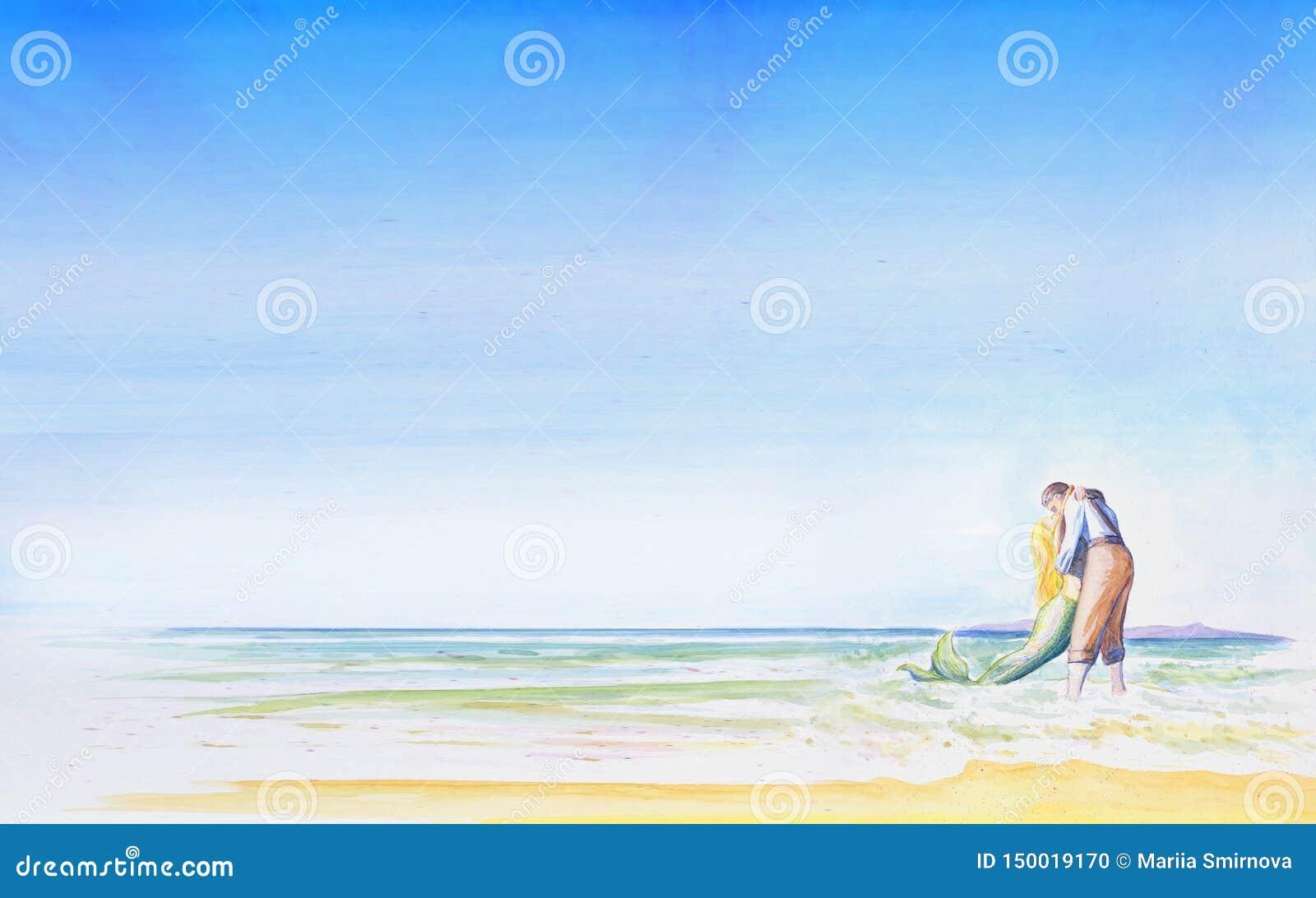 Ένας νεαρός άνδρας φιλά μια γοργόνα θαλασσίως Ρομαντικό ελαφρύ υπόβαθρο για το σχέδιό σας Χρόνος διακοπών επιγραφής watercolor