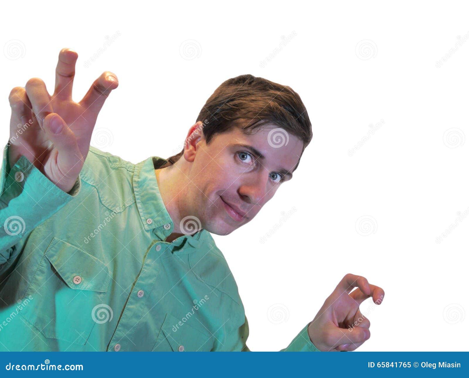 Ένας νεαρός άνδρας παρουσιάζει αποσπάσματα αέρα