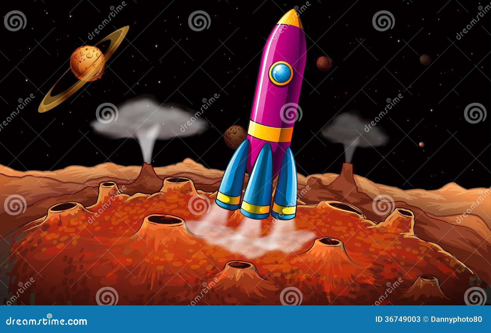 Ένας πύραυλος και πλανήτες στο outerspace