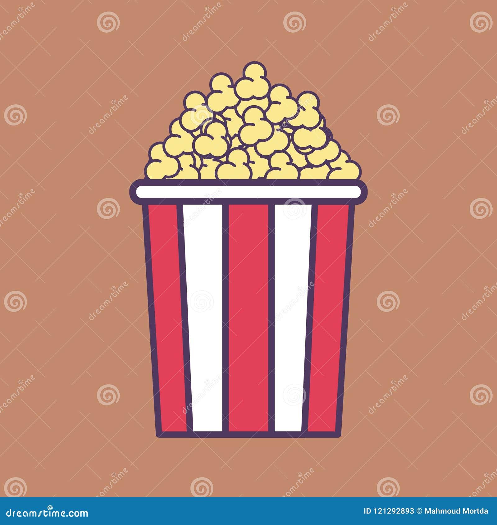 Ένας υψηλός - ποιοτική επίπεδη διανυσματική απεικόνιση ενός Popcorn κάδου