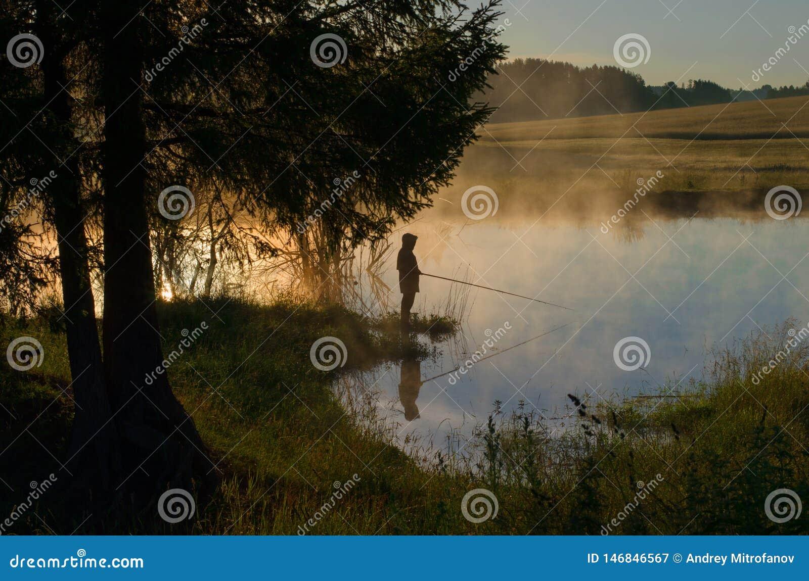 Ένας ψαράς σε μια δασώδη λίμνη στην ομίχλη