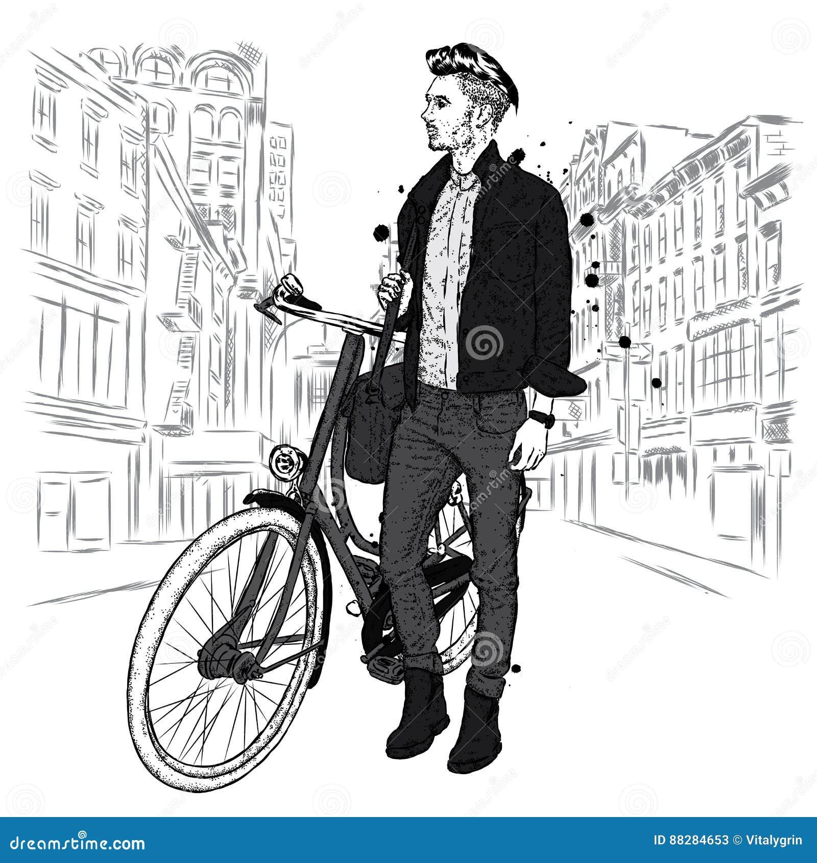 Ένας όμορφος τύπος στα τζιν και ένα σακάκι με ένα εκλεκτής ποιότητας ποδήλατο στην οδό πόλεων Hipster επίσης corel σύρετε το διάν