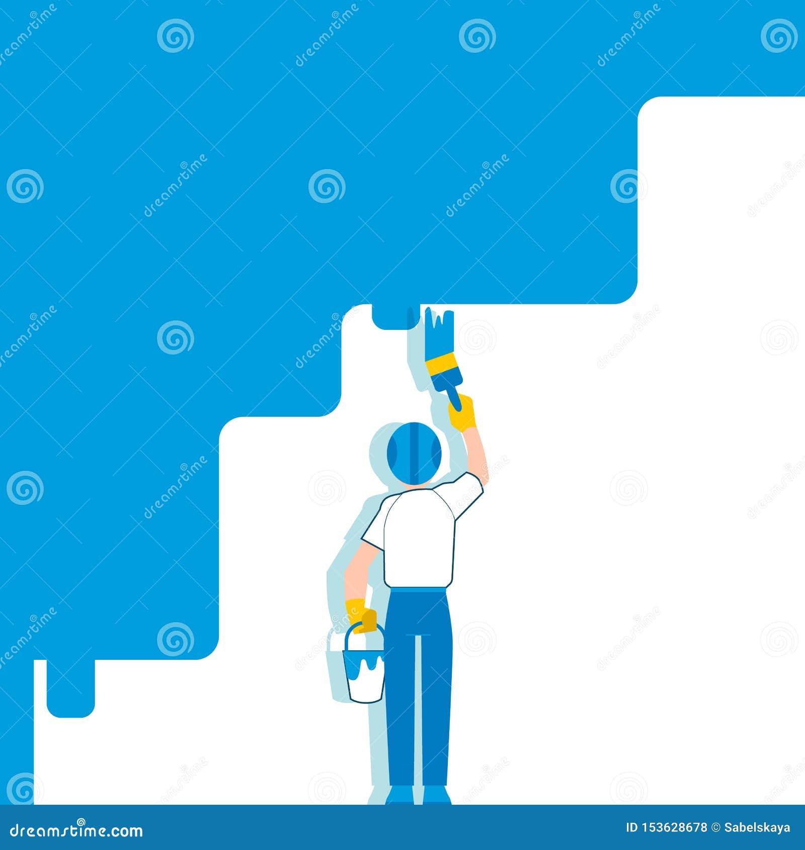 Ένα άτομο και ένας ζωγράφος σε ένα κράνος χρωματίζουν έναν άσπρο τοίχο στο μπλε με μια βούρτσα