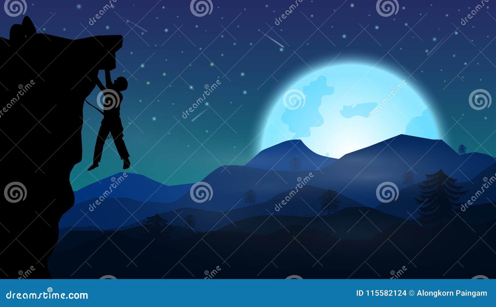 Ένα άτομο που αναρριχείται στο βουνό τη νύχτα νύχτα της πανσελήνου και του αστεριού fal
