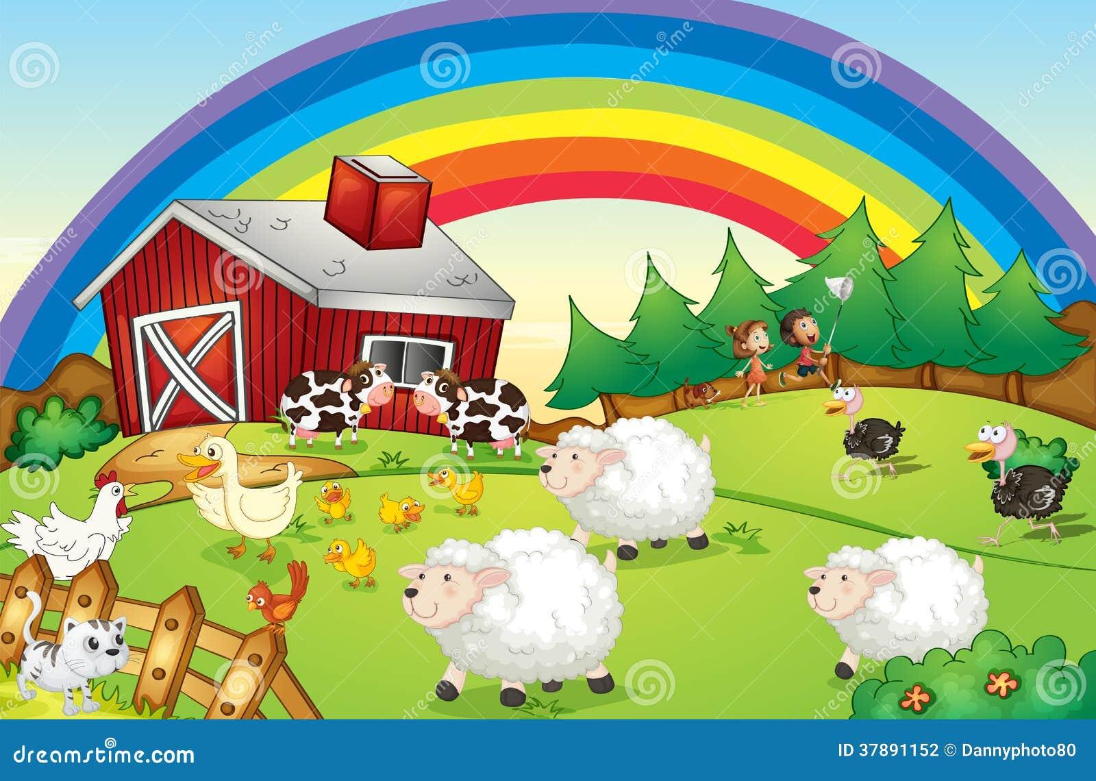 Ένα αγρόκτημα με πολλά ζώα και ένα ουράνιο τόξο στον ουρανό