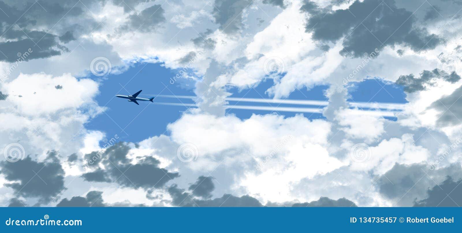 Ένα αεριωθούμενο επιβατηγό αεροσκάφος βλέπει μέσω ενός ανοίγματος στα σκουραίνοντας σύννεφα όπως πετά πέρα από έναν ειδάλλως μπλε