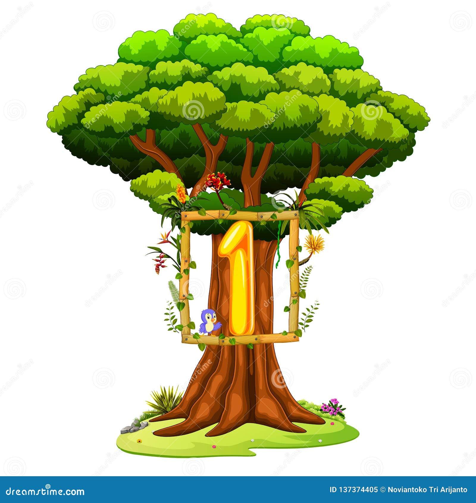 Ένα δέντρο με έναν αριθμό ένα αριθμός για ένα άσπρο υπόβαθρο