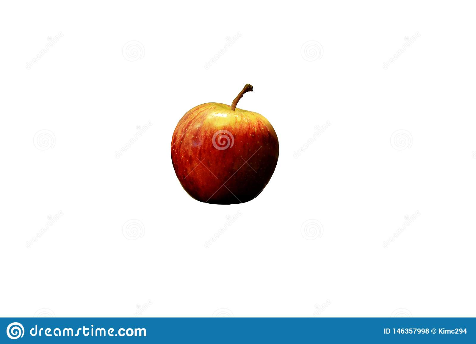Ένα ενιαίο κόκκινο μήλο που απομονώνεται στο λευκό