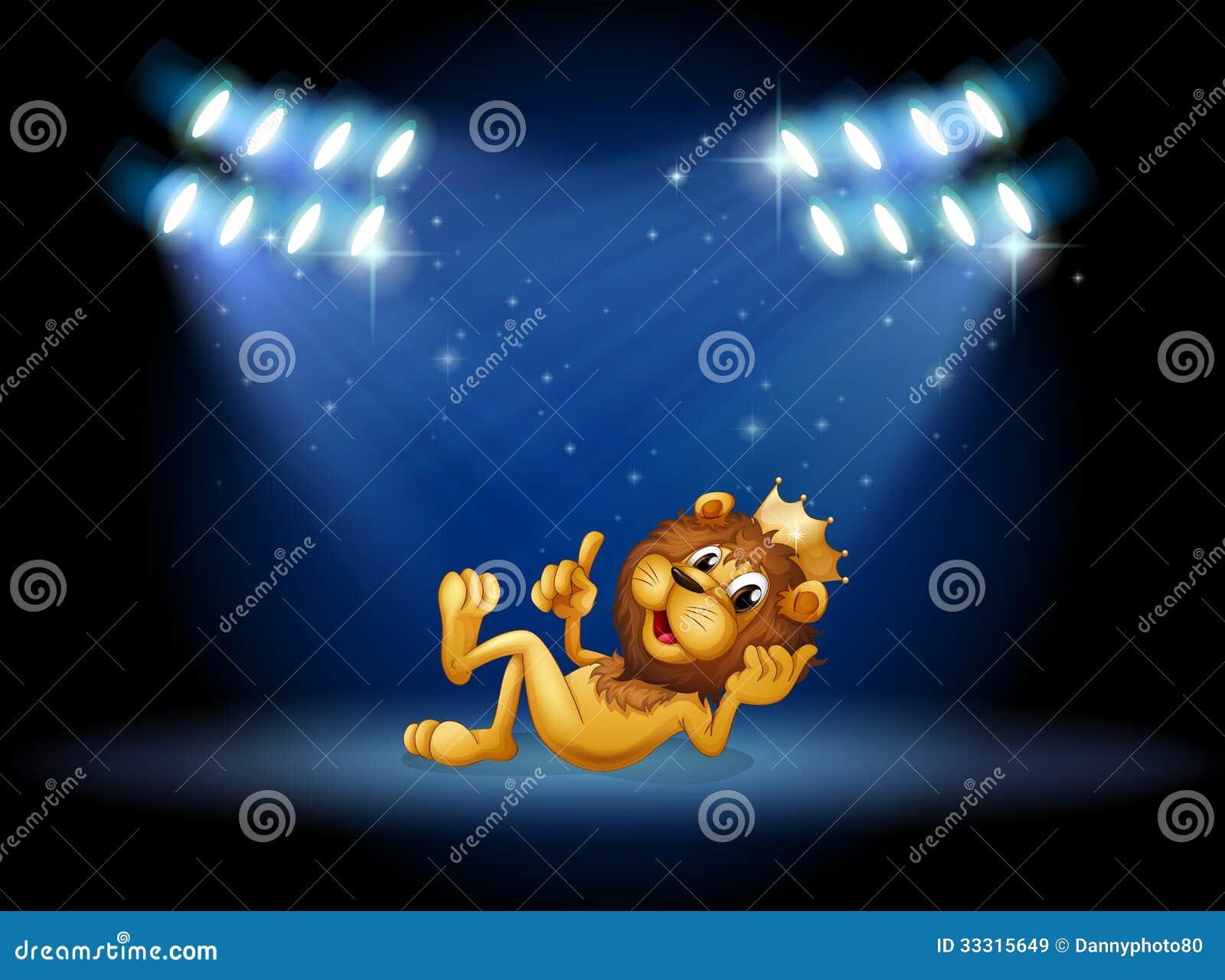 Ένα λιοντάρι βασιλιάδων στο κέντρο του σταδίου