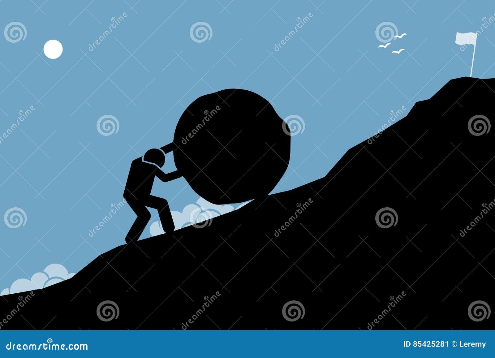 Ένα ισχυρό άτομο που ωθεί έναν μεγάλο βράχο επάνω ο λόφος για να επιτύχει το στόχο στην κορυφή