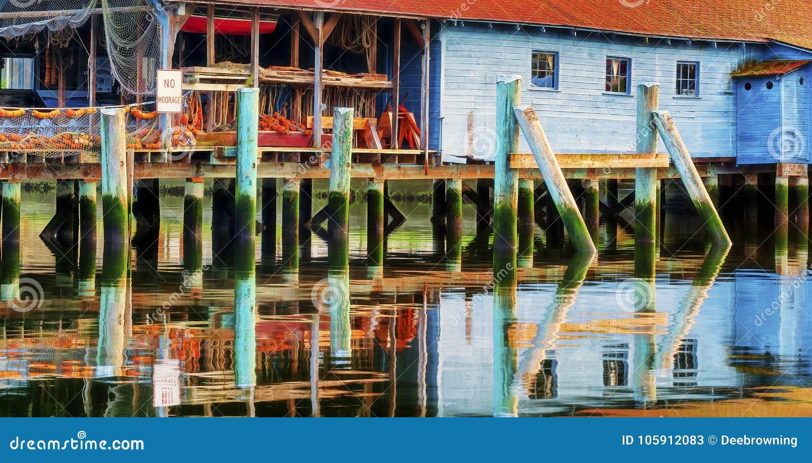 Ένα καθαρό υπόστεγο απεικονίζει στον ήχο Puget στο λιμάνι συναυλιών