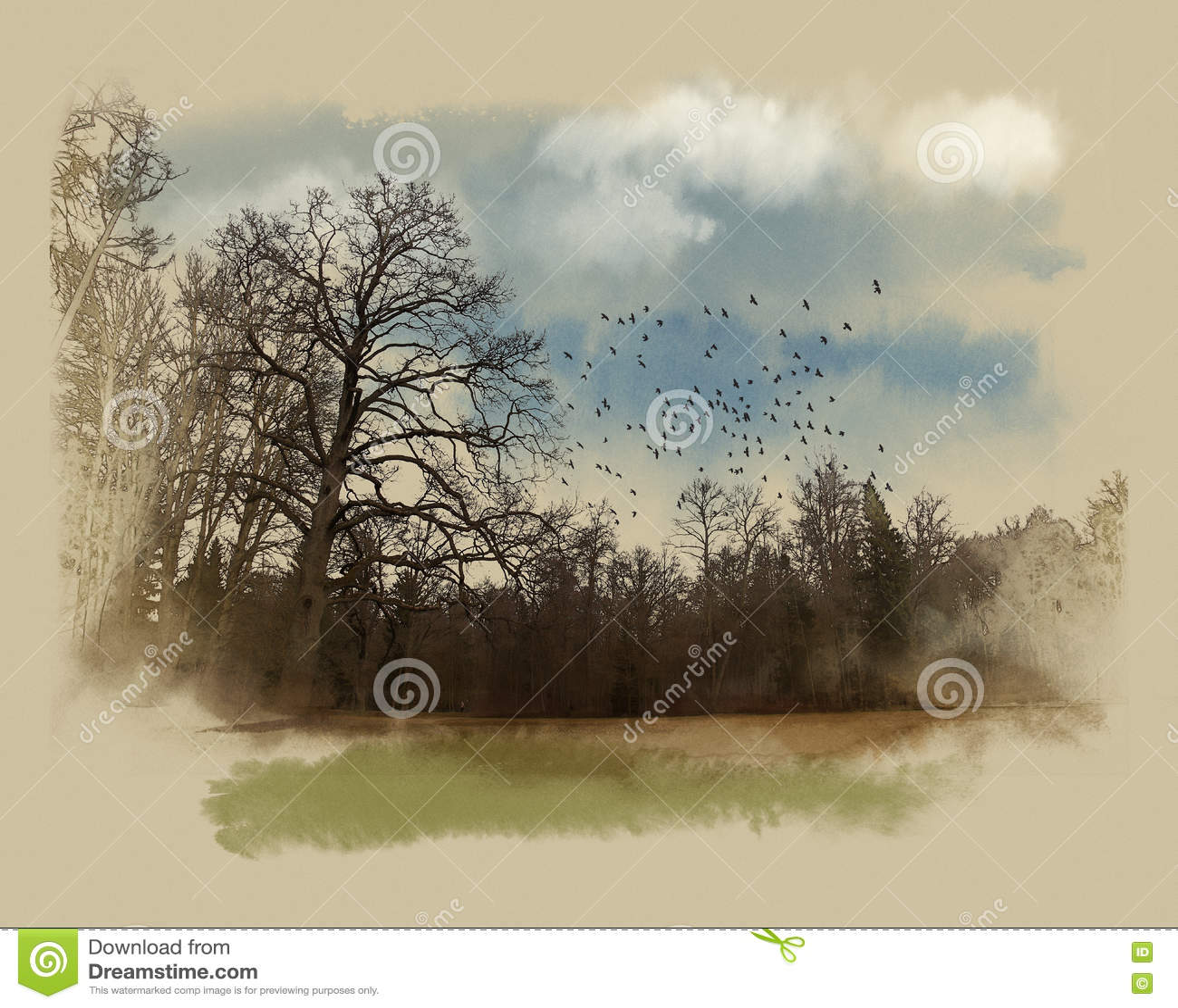 Ένα μεγάλο δέντρο στη δασική άκρη Σκίτσο Watercolor