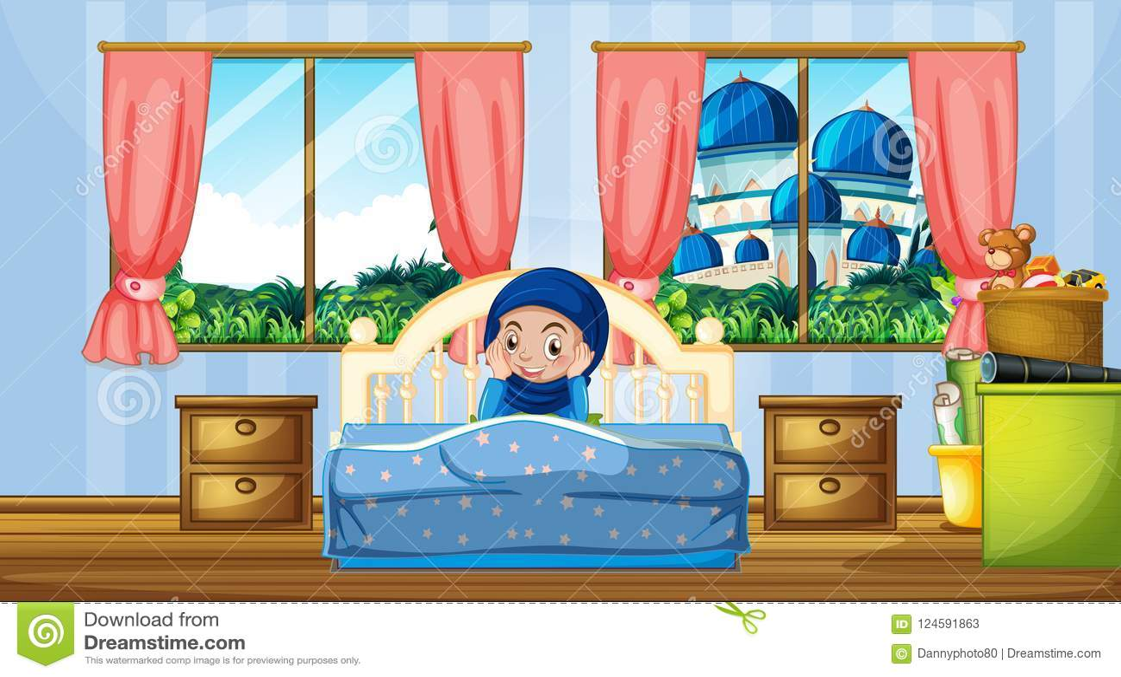 Ένα μουσουλμανικό κορίτσι στην κρεβατοκάμαρα