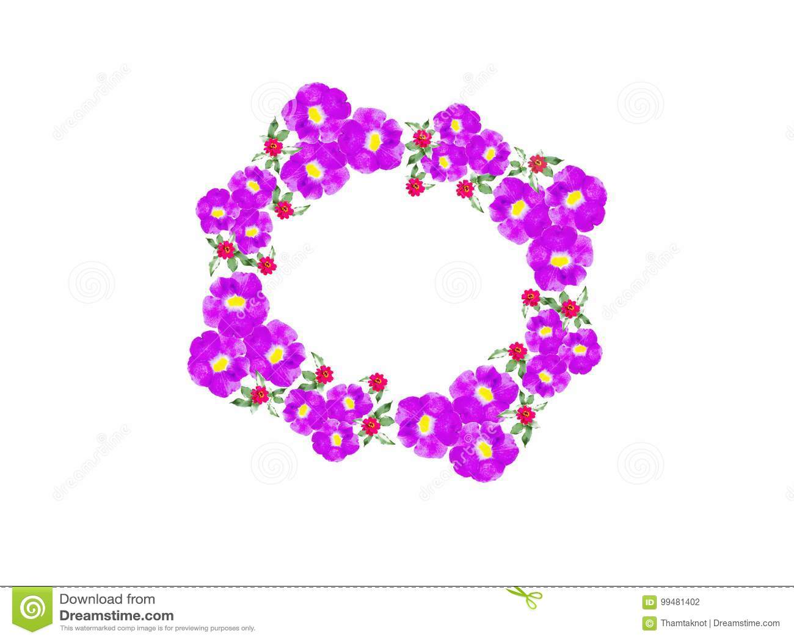 Ένα στεφάνι των πορφυρών λουλουδιών σε ειδικές περιπτώσεις ή μια ειδική ημέρα με ένα άσπρο υπόβαθρο