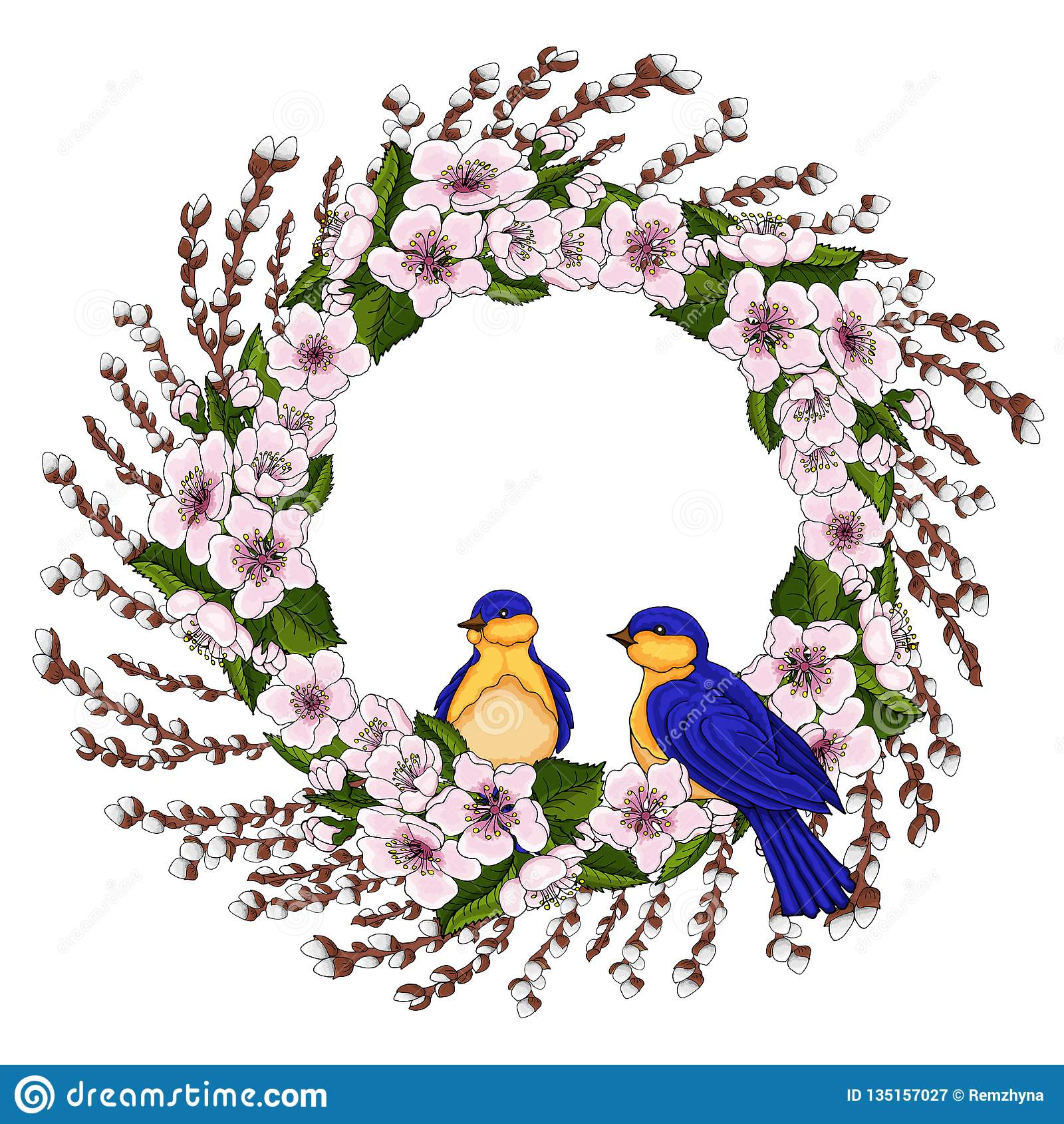 Ένα στεφάνι των ρόδινων λουλουδιών κερασιών με τα βεραμάν φύλλα και τη νέα ιτιά διακλαδίζεται με τα πουλιά άνοιξη Φυσικό στρογγυλ