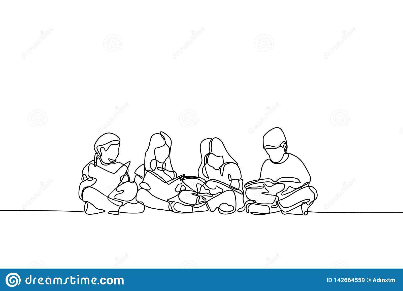 Ένα σχέδιο γραμμών του εφήβου συνεχές θέμα εκπαίδευσης παιδιών και παιδιών σχεδίου lineart
