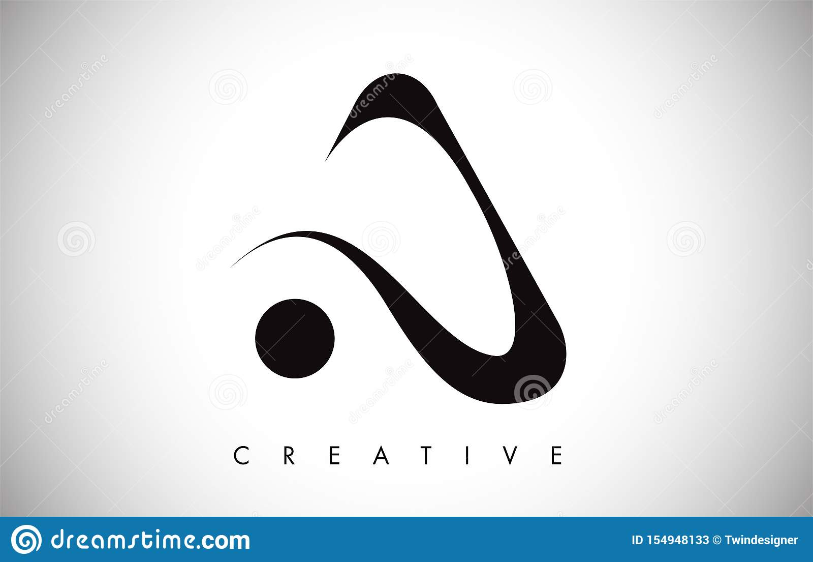 Ένα σύγχρονο καθιερώνον τη μόδα λογότυπο σχεδίου επιστολών swoosh Επιστολή ένα λογότυπο εικονιδίων με το σύγχρονο swoosh