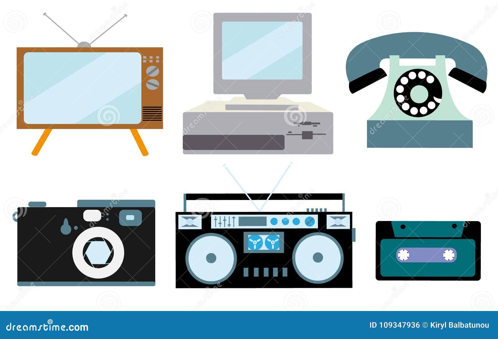 Ένα σύνολο αναδρομικής ηλεκτρονικής, τεχνολογία Παλαιά, εκλεκτής ποιότητας, αναδρομικός, hipster, η παλαιά kinescope TV, υπολογισ