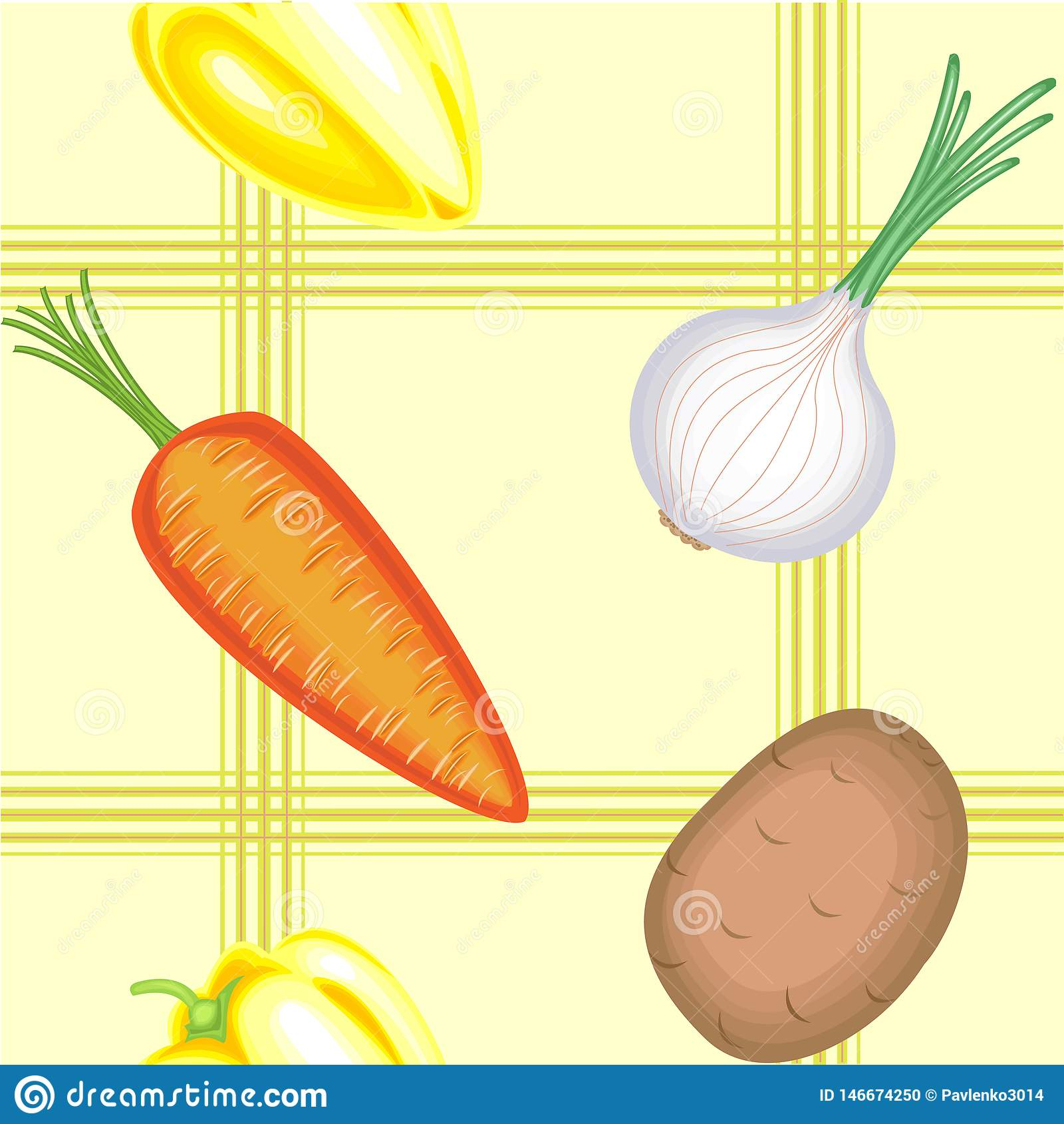 Ένα φανταχτερό σχέδιο Ώριμα όμορφα λαχανικά σε ένα ελαφρύ υπόβαθρο Κατάλληλος ως ταπετσαρία στην κουζίνα, ως υπόβαθρο για