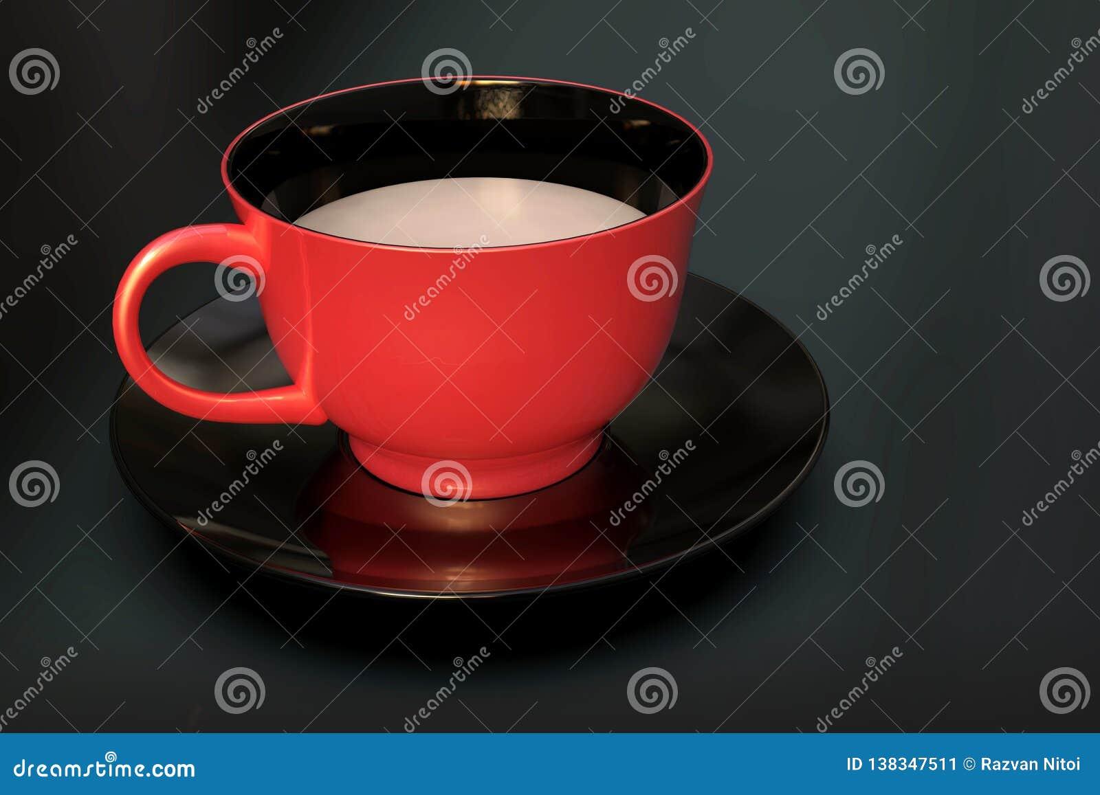 Ένα φλυτζάνι γάλακτος, κόκκινος κεραμικός, στο μαύρο υπόβαθρο