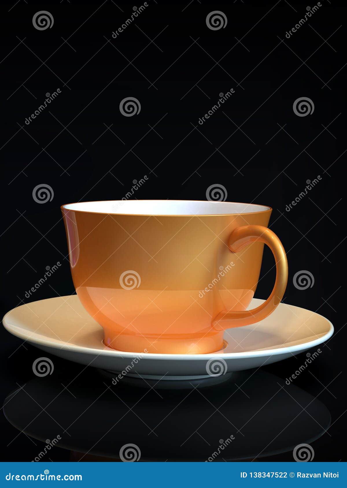 Ένα φλυτζάνι καφέ, πορτοκαλής κεραμικός, στο μαύρο υπόβαθρο