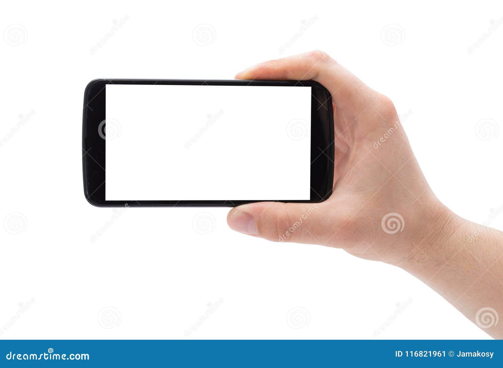 Ένα χέρι ατόμων που κρατά το έξυπνο τηλέφωνο που καθιστά τη φωτογραφία απομονωμένη στο άσπρο υπόβαθρο