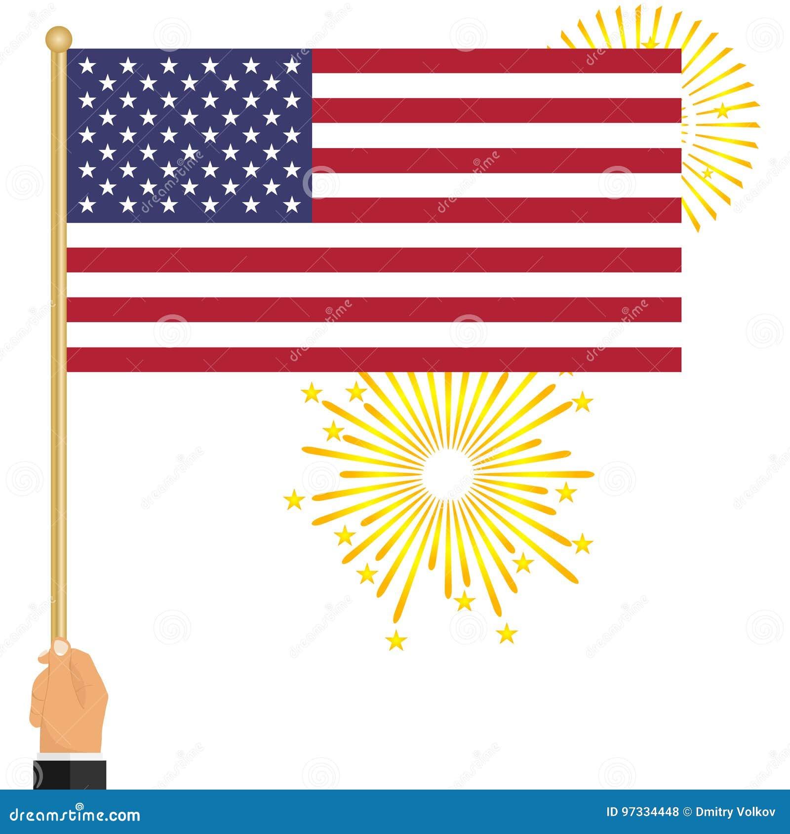 Ένα χέρι κρατά μια αμερικανική σημαία