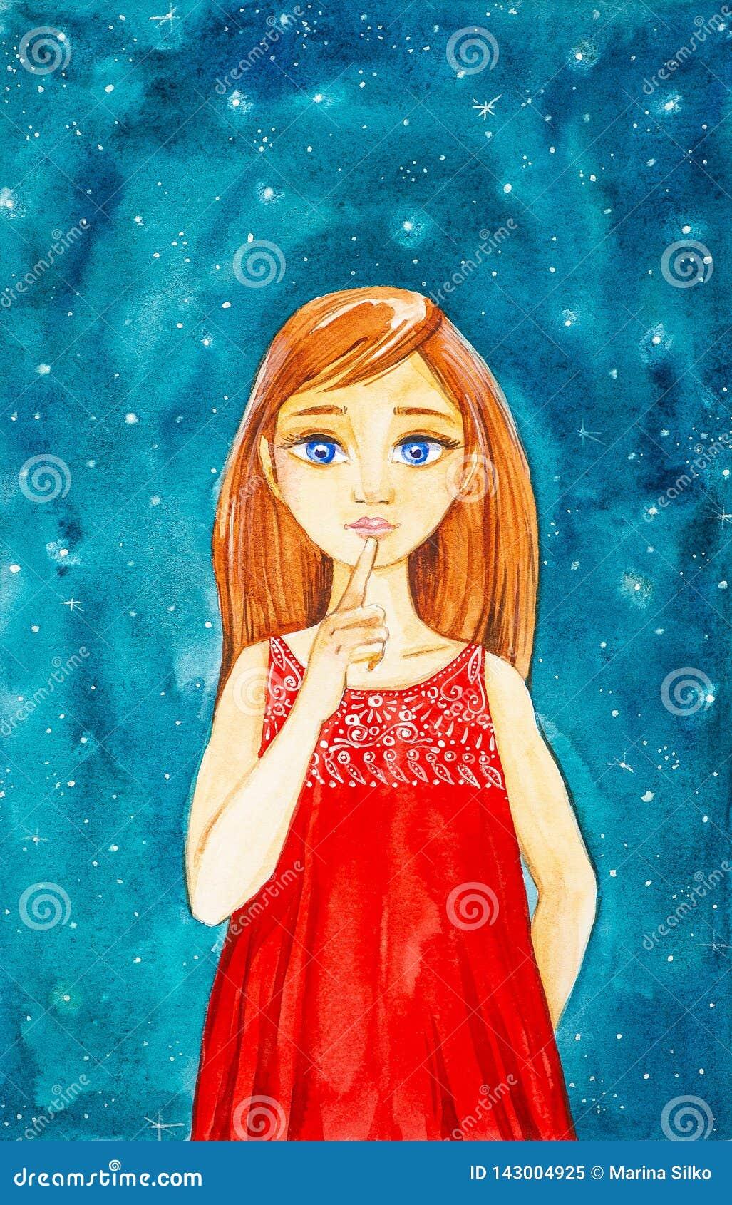 Ένα όμορφο νέο κορίτσι με τη μακροχρόνια καφετιά τρίχα και τα μπλε μάτια σε ένα κόκκινο φόρεμα ενάντια στο νυχτερινό ουρανό παρου