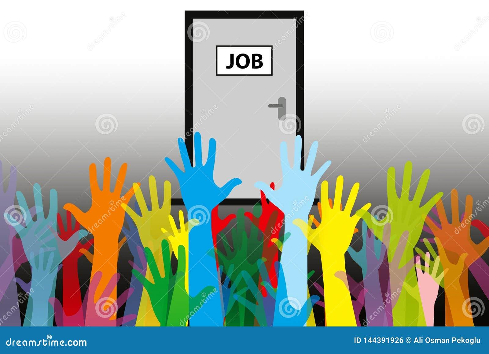 Έννοια ένα ανεργίας εργασία προσώπων, πολλοί υποψήφιοι