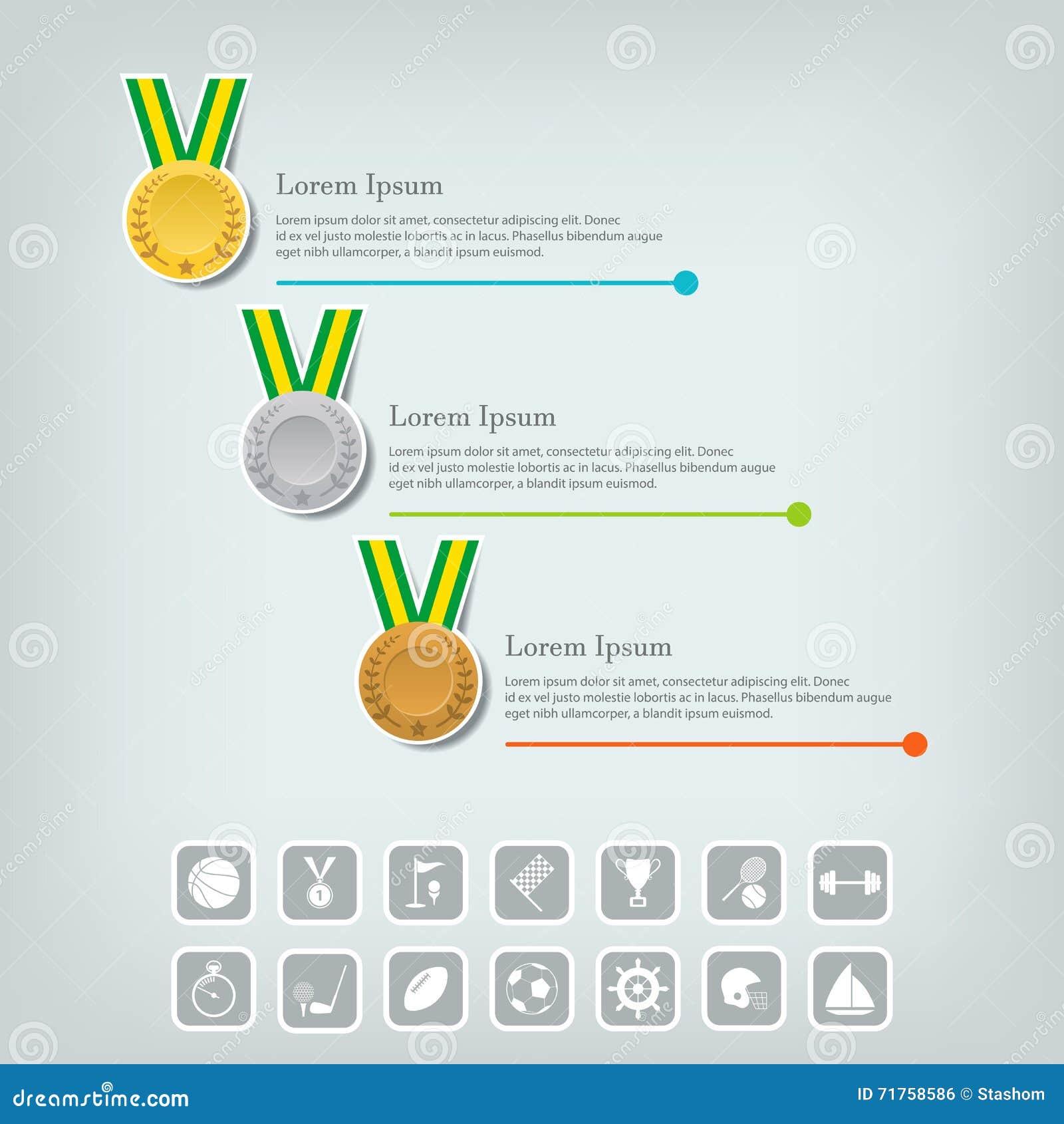 Έννοια αθλητικών μεταλλίων και βραβείων Εικονίδια πρωτοπόρων ή νικητών Αθλητισμός Infographic με τα εικονίδια