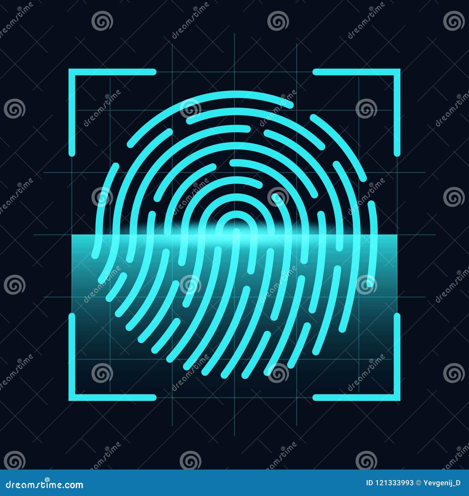 Έννοια ανιχνευτών δακτυλικών αποτυπωμάτων Ψηφιακός και cyber ασφάλεια, βιομετρική έγκριση Δακτυλικό αποτύπωμα στην οθόνη ανίχνευσ