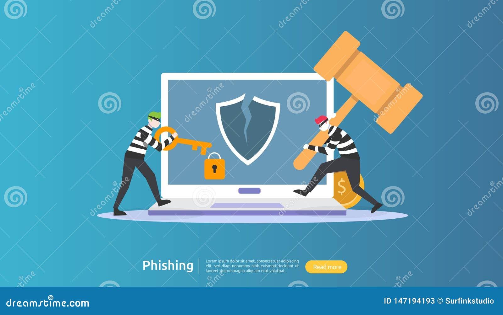 έννοια ασφάλειας Διαδικτύου με το μικροσκοπικό χαρακτήρα ανθρώπων phishing επίθεση κωδικού πρόσβασης stealing προσωπικά στοιχεία