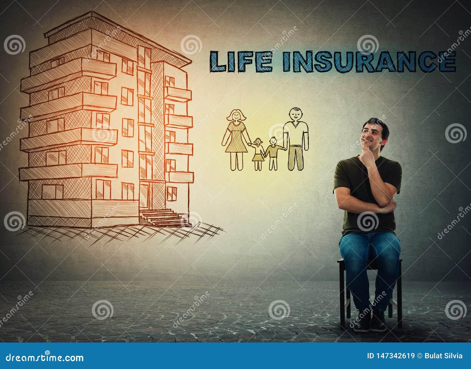 Έννοια ασφαλείας ζωής, σπίτι και ευτυχής οικογένεια